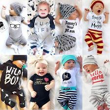 UK Stock Newborn Baby Boys Girls Top T Shirt Romper Pants Bodysuit Outfit Set