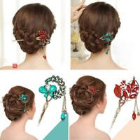 Chinese Style Crystal Tassel Hair Stick Flower Leaf Hairpin Pin Hair Chopsticks