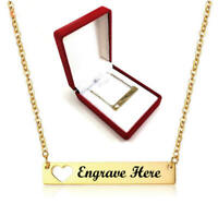 Personalized Engraved Heart Name Plate Gold Tone Necklace Engraving Pendant 1023