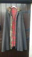 Vintage Scottish  Tweed , Tartan Lined Hooded Cape