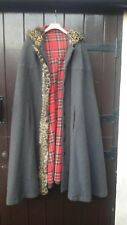 Vintage Scottish  Tweed , Tartan Lined Hooded Cape