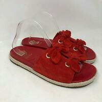 Vince Camuto 10 Sandals Womens Red Suede Slip On Open Toe Slides Grommets