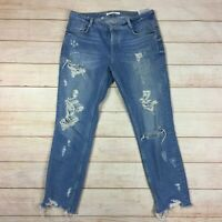 Zara Women's Distressed Light Wash Straight Relaxed Ankle Cut Jeans Size 6