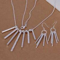 Fashion Silver Jewelry Set Earings Necklace Long Eardrop Five/Seven Tassels