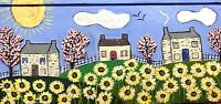 Original Painting Country Houses In Floral landscape, Naive/Folk Art Flowers