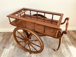 Vintage Elephant Trunk Leg Rolling Wood Bar Cart Tray Tea Liquor Serving Table