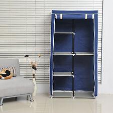 Home Portable Wardrobe Non-woven Fabric Folding Clothes Hanger Organizer Blue
