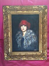 Vintage Signed Nadina? Oil Painting on Canvas Portrait Flapper Girl in Red Hat