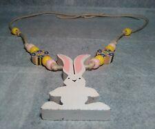 Wooden rabbit bead necklace