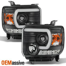 Fits 2014-2019 GMC Sierra 1500 2500HD 3500HD Black LED Tube Projector Headlights