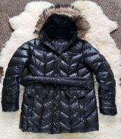 Lands End Black Goose Down Parka Jacket Coat Fur Hood Trim Women L 14-16