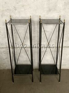 A FINE PAIR OF CUSTOM MADE TALL SIDE TABLES MAISON JANSEN STYLE.  BLACK GLASS