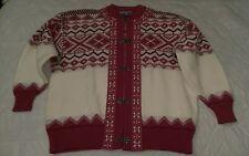 Vintage Women's Scan Alp Nordic Themed Cardigan 100% Wool Sweater New Zealand M