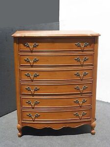 Vintage Dixie French Provincial Tall Boy Six Drawer Chest Dresser