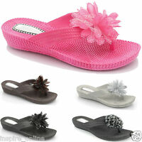 WOMENS LADIES SUMMER SANDALS BEACH FLIP FLOPS JELLY SHOES OPEN TOE POST SIZE 3-8