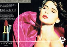 Publicité Advertising 107  1990  Lancome (2p) maquillage I.Rossellini rouge lèvr