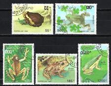Animaux Batraciens Laos (181) série complète 5 timbres oblitérés