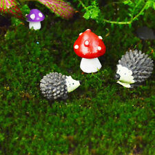 1 SET Mini Garden Fairy Ornament Hedgehog&Mushroom Set For Dollhouse Decor