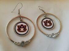 NEW! AUBURN UNIVERSITY Hoop Team Logo and Rhinestone Crystal AU Earrings