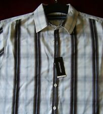 Urban Spirit - White/Brown Shirt - Short Sleeve - Medium - Checkered - BNWT