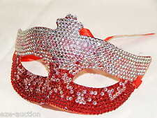 Party Rhinestone Crystal Masquerade Silver Red Mask Costume