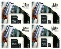 Kingston MicroSD Card 32GB 64GB 128GB Class 10 SDHC SDXC Memory with SD Adapter
