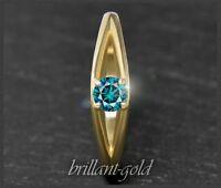Diamant 585 Gold Ring, Brillant Solitär mit 0,27ct, blau, Si2, 14 Karat Gelbgold