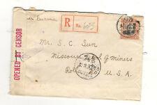 China 1941 Censor Cover To Us, Via Burma Due To Japan Occupation