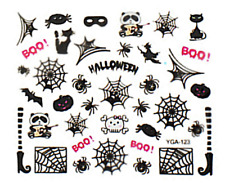 Nail art autocollants stickers ongles: Décorations Halloween toiles d'araignées