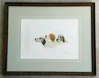 LEON DANCHIN Antique 1938 Hand Signed Etching English Irish SETTER HUNTING DOGS