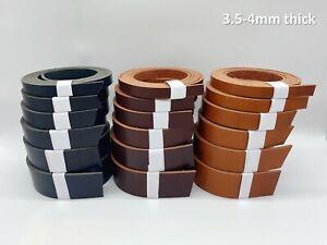 3.5-4mm thick veg tan leather belt 47''(120cm)+ long -select colour & width size