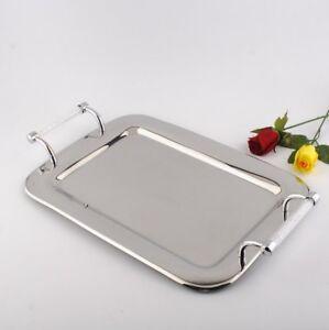 Rectangular Stainless Steel Candle Vase Tray Swarovski Crystal Filled Handle