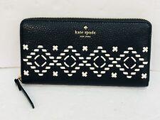 NEW Kate Spade Neda Flynn Street Black Leather Zip Around Wallet WLRU4927 $229