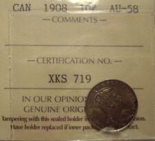 Canada Edward VII 1908 Silver Ten Cents - ICCS AU-58