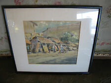 Likely Vintage Signed Watercolor Painting of People in Village & Man on Bike