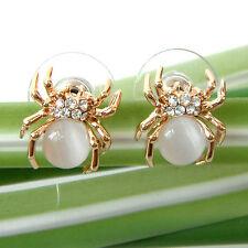 Navachi Spider Tarantulas White Opal 18K GP Crystal Ear Stud Earrings BH2403