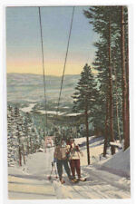 Ski Tow Skiing New Mexico linen postcard
