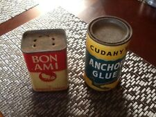 Vintage Bon Ami Cleaner Cudahy's Anchor Glue Container 2 Pc Lot