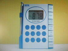 Vintage Digital FM Scan Radio,Travel Alarm, Time set -Hour, Minute, Blue/Silver*