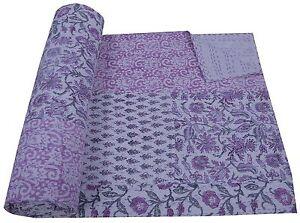 Indian Queen Kantha Quilt Floral Patchwork White Bedspread Gudari Cotton Throw