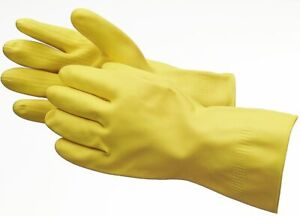 Ansell AlphaTec 87-063 Flocked Extra Grip Heavy Weight Yellow Rubber Gloves