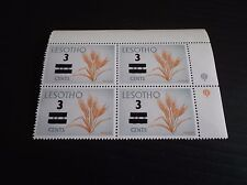 LESOTHO 1977 SG 342-342A SURCH BLOCK OF FOUR SG 342A BOTTOM RIGHT  MNH