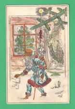 VINTAGE ORIGINAL? WATERCOLOR CHRISTMAS RUSSIAN SANTA CLAUS POSTCARD BELL TREE