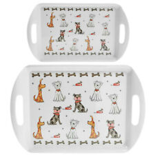 Set Of 2 Dogs Small Large Serving Food Drinks Snack Trays With Handle Melamine
