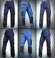 Men Denim Utility Work Workwear pants Cordura Knee Reinforcement Work Trouser