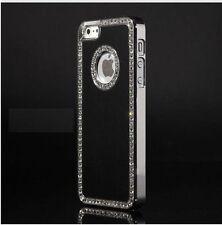 Brushed Aluminum Chrome Bling Diamond Rhinestone Case Cover Apple iPhone 5 5S SE