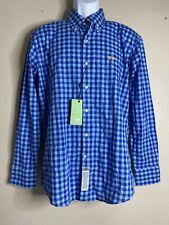 Nwt La Martina Men Size S Blue Check Shirt Long Sleeve