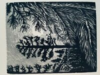 Original Woodcut Print Night Pine Trees Silver Moon Light All is Bright