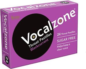 Vocalzone Blackcurrant Clear Voice Throat Pastilles 24 Sugar Free