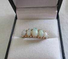Vintage Edwardian / victorian fiery white blue & green fire opal ring 9K   O/P